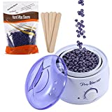 500ml Adjustable Temperature Wax Heater + Lavender Hard Wax Beans Hair Removal Tool Kits Used for Facial Armpits Hands Legs Bikini Line Depilatory (Lavender)