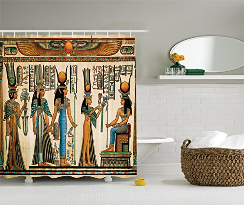 Egyptian Curtain - Ambesonne Egyptian Decor Collection, Egyptian Papyrus Depicting Queen Nefertari Making an Offering to Isis Picture, Polyester Fabric Bathroom Shower Curtain, Blue Teal Orange