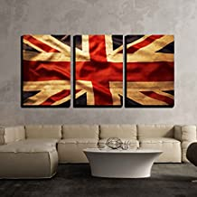 "wall26 - 3 Piece Canvas Wall Art - Closeup of Grunge Union Jack Flag - Modern Home Decor Stretched and Framed Ready to Hang - 16""x24""x3 Panels"