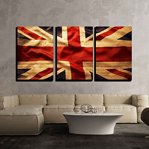 wall26 3 Piece Canvas Wall Art - Closeup of Grunge Union Jack Flag - Modern Home Decor Stretched and Framed Ready to Hang - 16