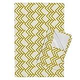 Roostery Golden Mustard Gold Arrows Chevron Linen Herringbone Tea Towels Golden Woods On Cream Linen 90 by Mrshervi Set of 2 Linen Cotton Tea Towels