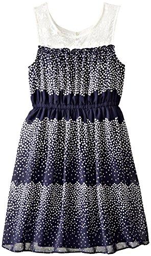 Bonnie Jean Big Girls' Sleeveless Printed Chiffon Dress, Navy, 12