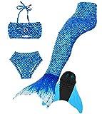 Superstar88 4PCS Girls Mermaid Tail Swimsuit Sparkle Princess Bikini Swimwear (Royal Blue, 150 (10-12 Years Old))
