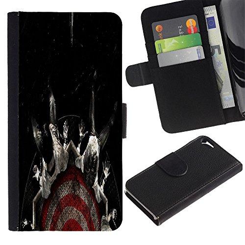 Cuir Portefeuille Housse Fente pour Carte Coque Étui de Protection pour Apple Iphone 5 / 5S / Target Fear Black Dark / STRONG