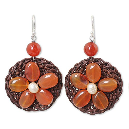 - NOVICA Carnelian Peach Cultured Freshwater Pearl .925 Sterling Silver Beaded Earrings 'Earth Flower'
