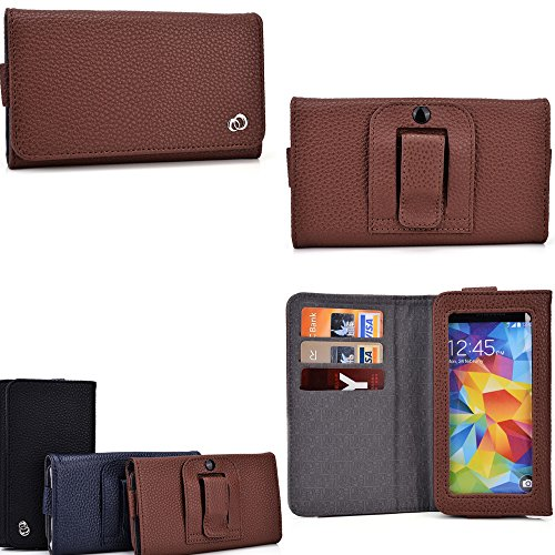 Cellphone holder with belt loop holster- card slots inserts- Cafe Brown : Universal fit for Samsung Galaxy Premier I9260