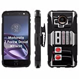 Motorola Moto [Z Force] Droid Phone Cover, NES Video Game Controller- Black Blitz Hybrid Armor Phone Case for [Motorola Moto [Z Force] Droid] with [Kickstand and Holster]