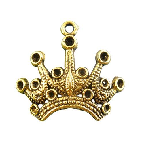 Housweety 20Pcs Gold Tone Crown Beads Charms Pendants 18x24mm