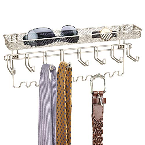 mDesign Closet Wall Mount Men's Accessory Storage Organizer Rack - Holds Belts, Neck Ties, Watches, Change, Sunglasses, Wallets - 19 Hooks and Basket - Satin ()