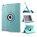Revesun Blue 360 Degrees Rotating Crocodile Pattern Leather Smart Cover Case Stand for ipad mini 2 ipad mini2 Apple iPad Mini 7.9'' Tablet