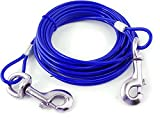 VIP Home Essential 30 Foot Pet Tie Cable Line - Blue - Vinyl Coated Aircraft Steel Cable - Ensure Pet Safety While Allowing Complete Freedom