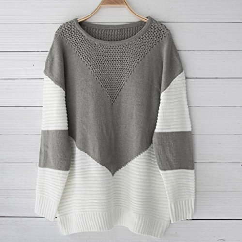 Sleeve Warm Sweatshirt Keep Long Sweater Tops LHWY Knitted Grey Blouse Block Women Casual Color qPfzqA8xw