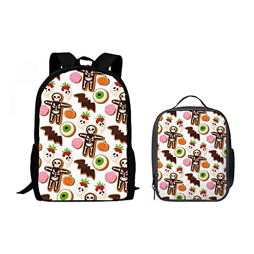 SARA NELL Children Halloween Cookie Mummy School Backpack Set Teens Boys Girls Schoolbag with Lunchbox Lunch Backpack]()