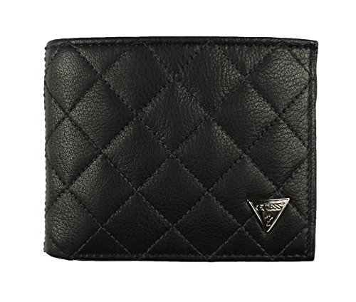 Leather Double Billfold (New Guess Men's Black Leather Double Billfold Passcase Wallet)