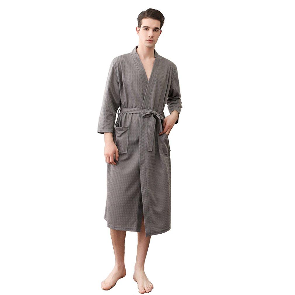 CheerLin Waffle Bathrobe Cotton Lightweight Summer Nightgowns Sleepwear Spa Knee Length Bridesmaids Kimono Robe Men Grey L