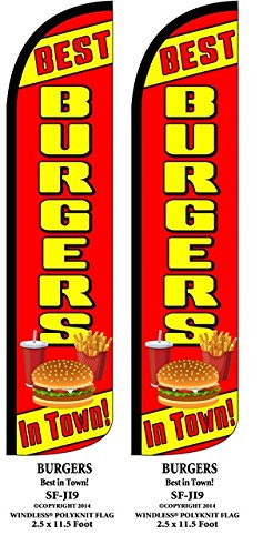 Best Burgers In Town Two(2) Windless Swooper Feather Flag Sign Kits With Pole and Ground Spikes by Accent Printing & Signs