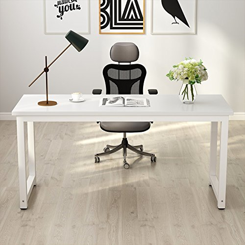 - Tribesigns Computer Desk, 63 inch Large Office Desk Computer Table Study Writing Desk for Home Office, White
