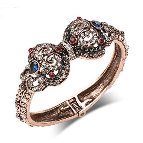 Nattaphol Vintage Bangle Gold Color Rhinestone Hollow Flower Bracelet Ladies Dress Wedding Party Accessories Gift Turkish Jewelry