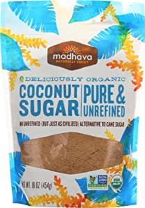 Madhava Naturally Sweet Organic Pure & Unrefined Coconut Sugar, 16 Ounce (Pack of 3)