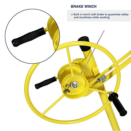 Idealchoiceproduct 16' Drywall Lift Rolling Panel Hoist Jack Lifter Construction Caster Wheels Lockable Tool Yellow by Idealchoiceproduct (Image #3)