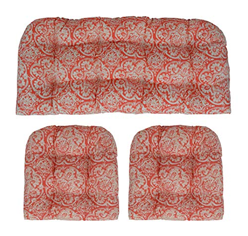RSH Décor Indoor/Outdoor Wicker Cushions Two U-Shape and Loveseat 3 Piece Set - Coral Bohemian Sundial