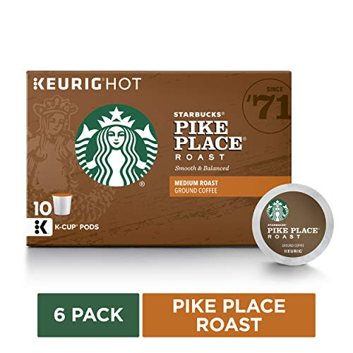 Starbucks Pike Place Roast Medium Roast Single Cup Coffee for Keurig Brewers, 6 boxes of 10 (60 total K-Cup pods)
