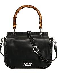 Bamboo Saddle Cross Body Bag Full Grain Leather