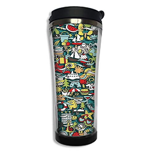 - Travel Coffee Mug 3D Printed Portable Vacuum Cup,Insulated Tea Cup Water Bottle Tumblers for Drinking with Lid 8.45 OZ(250 ml)by,Doodle,Simple Mini Drawings of Holiday Related Concepts Caravan Compass