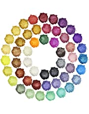 Mica Powder - 50 Colors Epoxy Resin Pigment - Natural Soap Dye - Hand Soap Making Supplies - Resin Color Pigment Powder Set for Slime, Resin Art, Bath Bomb, Cosmetic, Candle, Nail