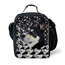 CHAQLIN 3D Husky Printing Insulated Lunch Bag Portable Lunchbox with Shoulder Strap Small Handbag Tote Travel Pinic Cooler Box