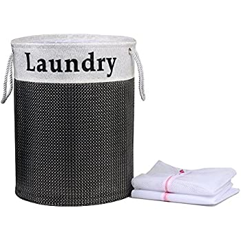 Black Laundry Hamper 20 x 13.5 inch DIY Collapsible Laundry Basket Organizer with Handles for Bedrooms, Dorm Rooms, Nurseries, Classrooms, Closets & More with Two Laundry Bags for Delicates Washing
