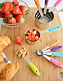 Zulay Measuring Cups and Spoons Set - 10 piece - Premium Quality Stainless Steel with Silicone Handles and Engraved Measurements