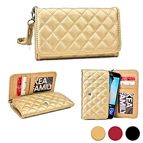Cooper Cases(TM) Quilted Women's Clutch Nokia Lumia 625/730 Dual Sim/735/830/928/930/Icon Smartphone Wallet Case in Gold (Detachable Lanyard Strap; Credit Card/ID Slots, Slip (Lumia 830 Gold Case)