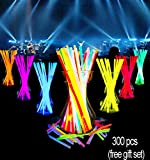 Glow Sticks Bulk-300 Count-8'' Glow Necklace Bracelets Party Game Sparklers Supplies Packs Favors In The Dark For Birthday Wedding Halloween For Kids Games Light Up Stick Gifts Bag (300 pcs)