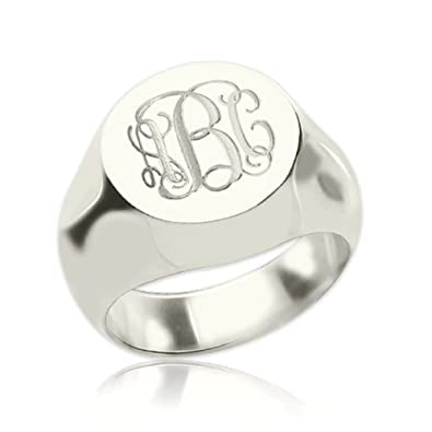 949bc7e9 925 Sterling Silver Personalized Signet Radiant Monogram Ring Custom Made  with Any Initials (Silver)