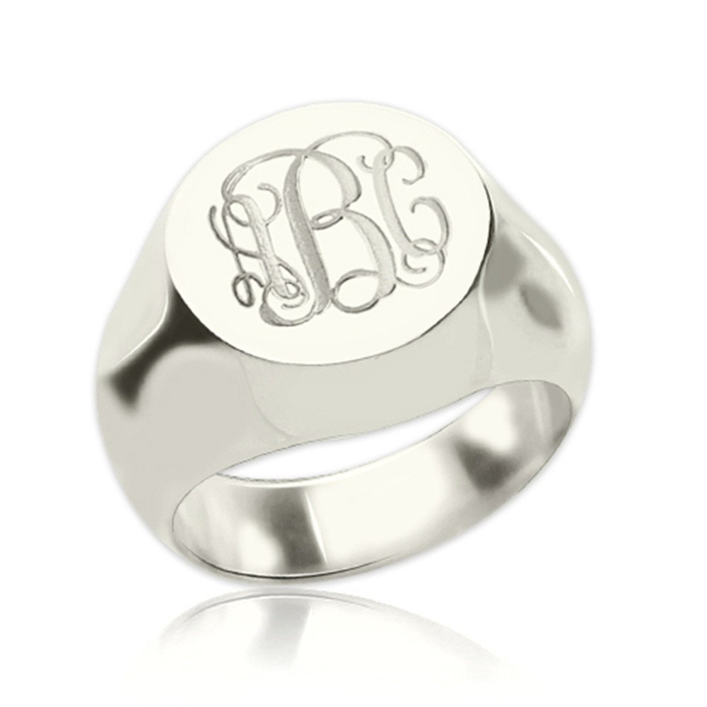 925 Sterling Silver Personalized Signet Radiant Monogram Ring Custom Made with Any Initials (Silver)