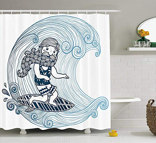 Wave Shower Curtain by, Doodle Surfer with Long Beard on Swirled Waves Surfboard Water Sports, Fabric Bathroom Decor Set…