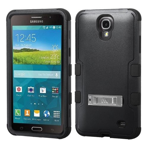 Galaxy Mega 2 Case, Kaleidio [Mybat Natural TUFF] Dual Layer Shock Proof Hybrid Case Cover w/ Metal Kickstand for Samsung Galaxy Mega II 2 G750F [Package Includes a Overbrawn Prying Tool & Stylux Stylus Combo] - Retail Packaging [Black/Black]