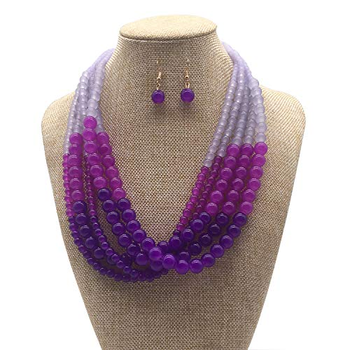 JHWZAIY 5 LayersStone Beads Statement Beaded Layered Strands Necklace Earrings Set - Necklace Set Earring Beaded And