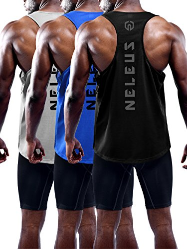 Neleus Men's 3 Pack Dry Fit Loose Fit Muscle Tank Gym Shirt,5031,Black,Grey,Blue,XS,EU S