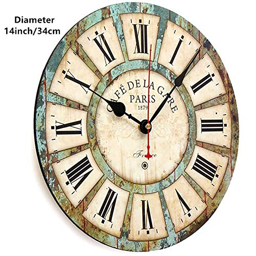 Qukueoy 14 Inch Silent Round Wooden Wall Clock Rustic Country Style, Battery Operated, Vintage Farmhouse Wall Decor for Living Room,Kitchen, Bedroom, or Office