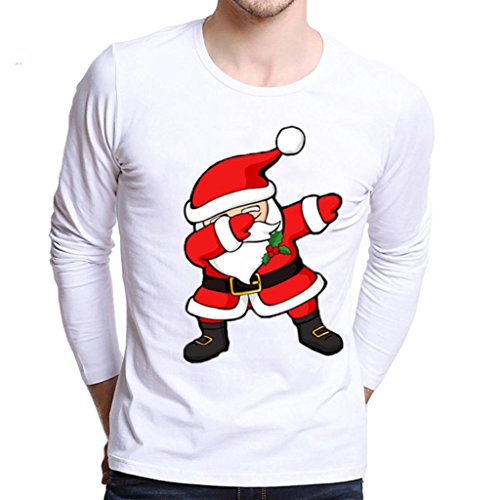 kaifongfu Blouse Men Plus Size Christmas Printing Tees Shirt Long Sleeve T Shirt (Red A, XS) ()