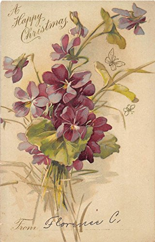 Christmas Greetings Purple Flowers Klein Signed Artist Antique Postcard J10039