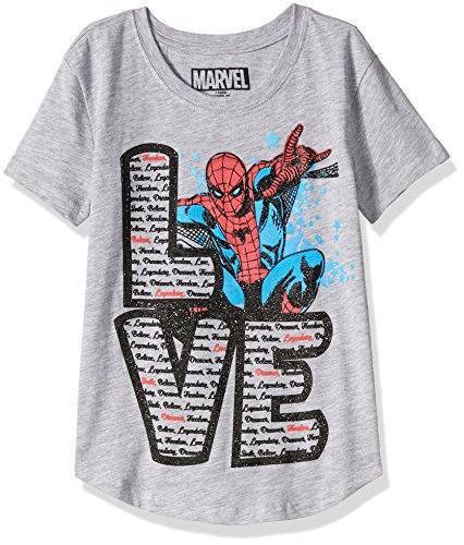 Marvel Big Girls' Spiderman T-Shirt, Heather Grey, 7/8 (Spiderman Clothes For Girls)