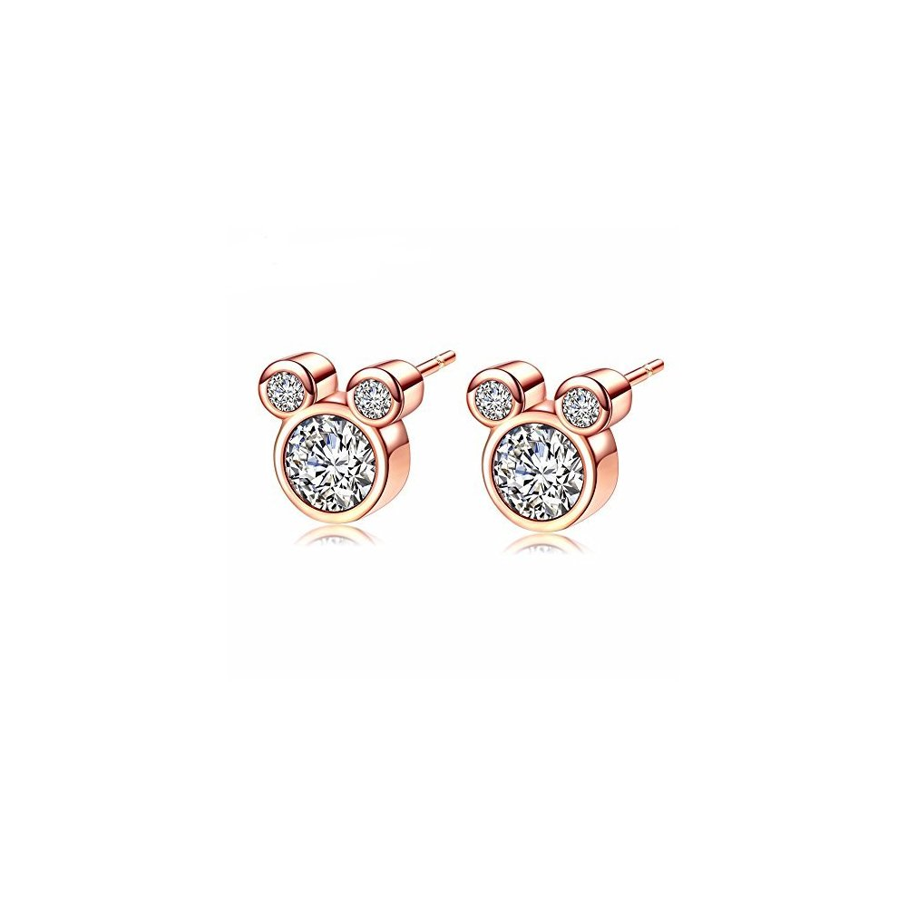 Mall of Style Mickey Mouse Studs - Jewelry for Girls/Women (Rose Gold Studs)