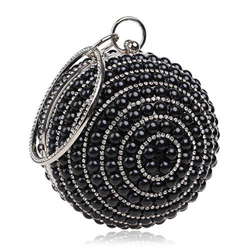 Yzibei pratico Pochette da donna con perline in paillettes di perline - Borsa da sera con perline vintage, borsa da sposa, borse da pochette per matrimonio, festa (Colore : Blu) Nero