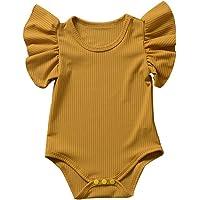 Mameluco de Manga Corta para Bebé Recién Nacido Mono de Cuerpo de Color Sólido Cuello Redondo con Volantes para Niños…