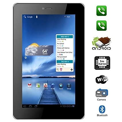 Vox V102 Dual Sim Calling 7 -inch Android Tablet with Bluetooth,Tv, Fm, 3G, Capacitive Touch Tablets at amazon
