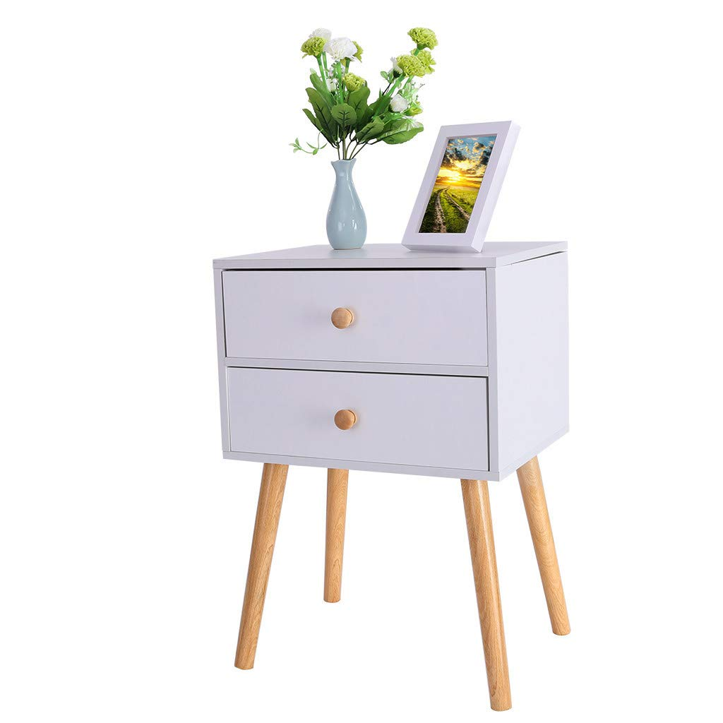 Sturdy and Durable 11.8/×15.7/×23inch Locker Double Drawer Nightstand Cabinet Storage Solid Wood Legs Easy to Assemble North American Modern Minimalist Bedside White
