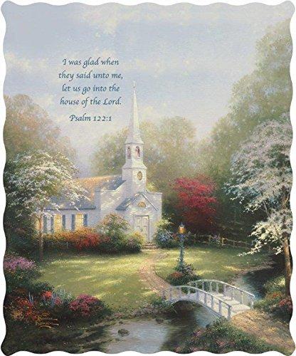 Virah Bella Thomas Kinkade Hometown Chapel Religious Psalm 112:1 Quilted Throw Blanket